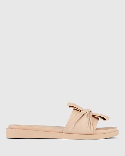 Reo Nude Leather Bow Slide. & Wittner & Wittner Shoes