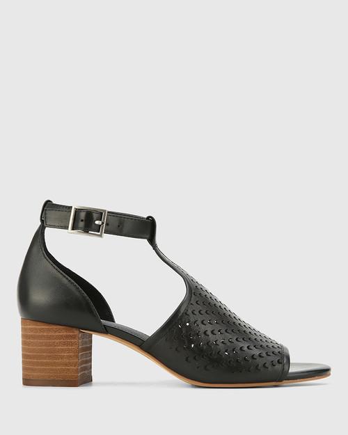 Imiza Black Leather Lasercut Block Heel Sandal. & Wittner & Wittner Shoes