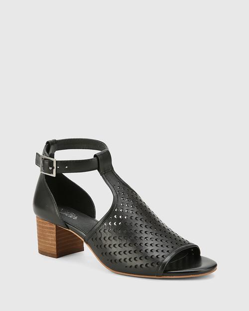Imiza Black Leather Lasercut Block Heel Sandal.