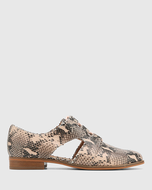 Harrie Powder Pink Snake Print Leather Cut Out Brogue. & Wittner & Wittner Shoes