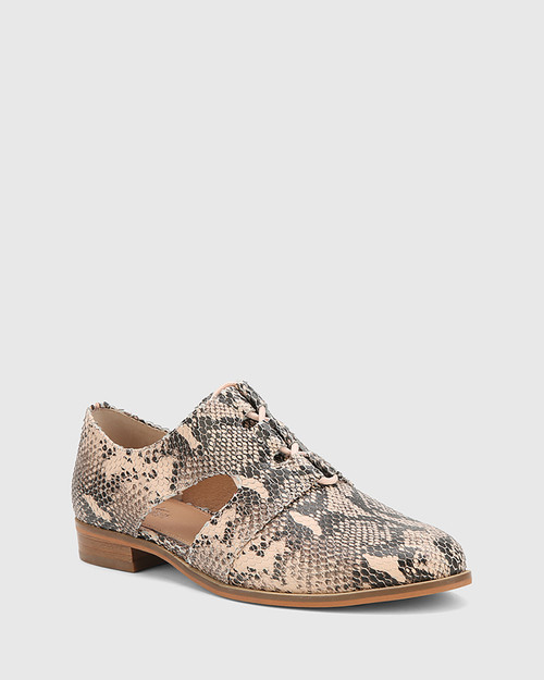 Harrie Powder Pink Snake Print Leather Cut Out Brogue.