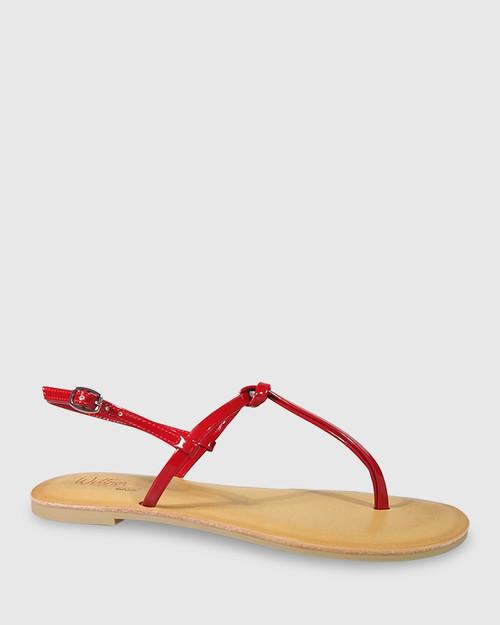 Frisco Red Mirror Patent Flat Sandal.