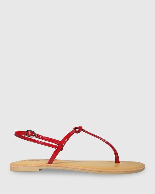 Frisco Red Mirror Patent Flat Sandal. & Wittner & Wittner Shoes