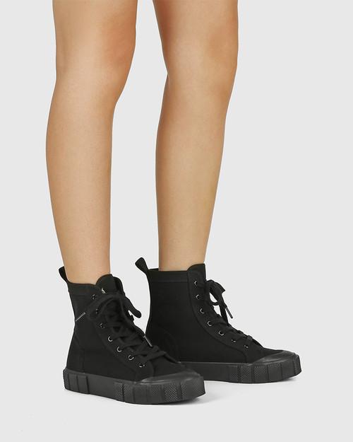 Xola Black Canvas High Top Sneaker & Wittner & Wittner Shoes