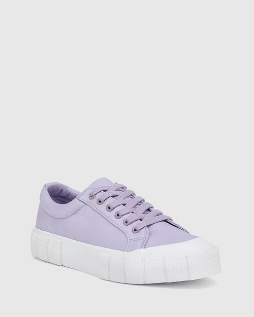 Xylon Lavender Canvas Lace Up Sneaker