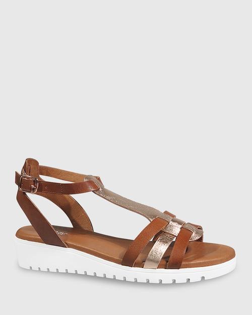 Jericho Cognac & Rose Gold Leather Wedge Sandal. & Wittner & Wittner Shoes