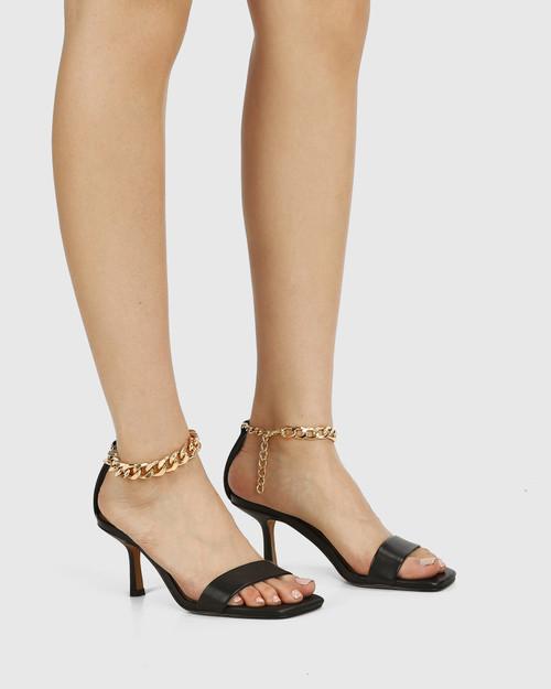 Charmed Black Leather Dual Strap Sandal & Wittner & Wittner Shoes