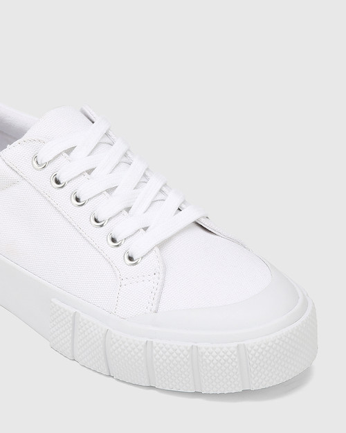 Xylon White Canvas Lace Up Sneaker & Wittner & Wittner Shoes