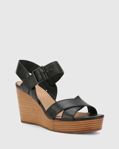 Vivia Black Leather Crossed Strap Open Toe Wedge. & Wittner & Wittner Shoes