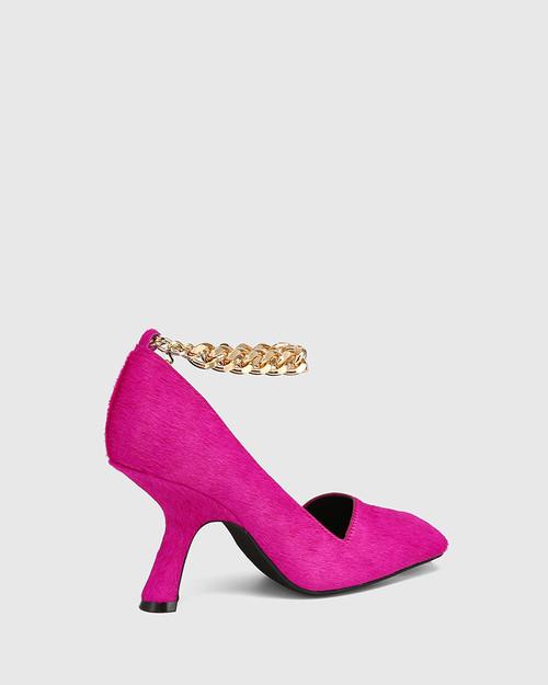 Xalt Magenta Hair-on Leather Chain Strap Heel  & Wittner & Wittner Shoes