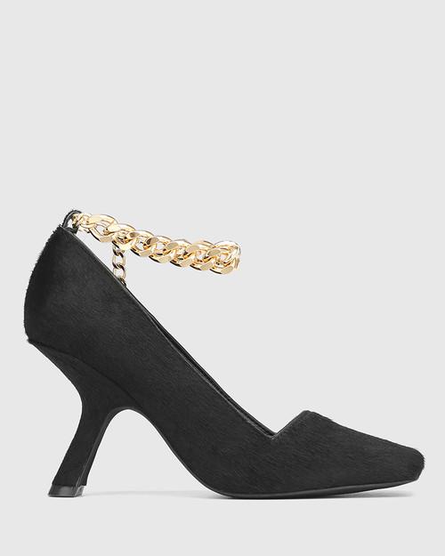 Xalt Black Hair-on Leather Chain Strap Heel  & Wittner & Wittner Shoes