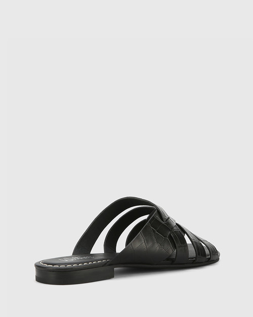 Caitlyn Black Croc-Embossed Leather Multi-Strap Slide & Wittner & Wittner Shoes