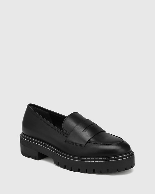Madyson Black Leather Utility Loafer