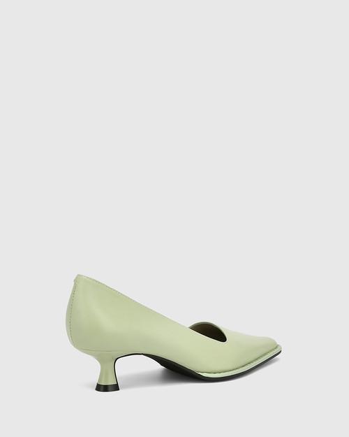 Grafton Leaf Green Leather Kitten Heel Pump & Wittner & Wittner Shoes