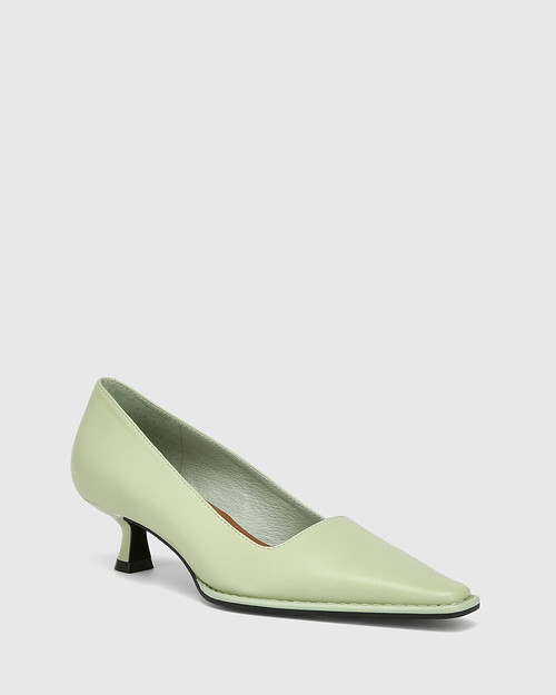 Grafton Leaf Green Leather Kitten Heel Pump