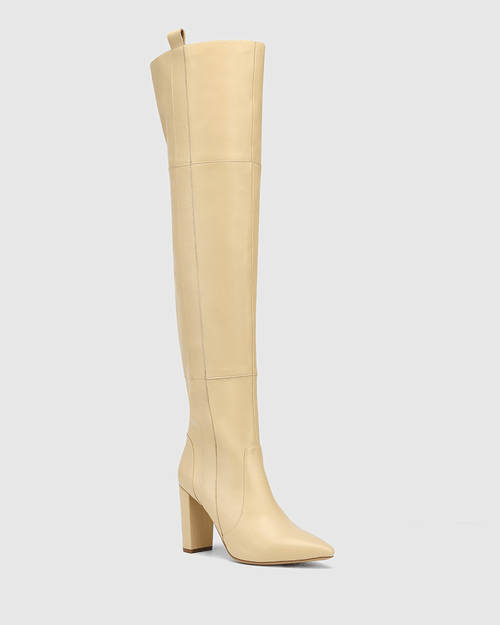Hansina Sand Leather Over The Knee Boot
