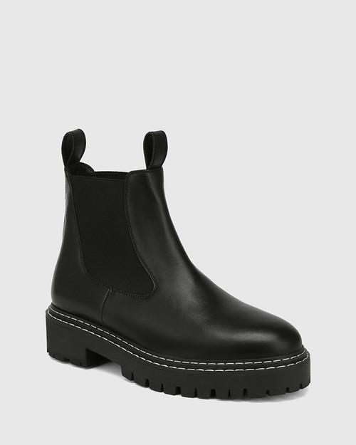 Madi Black Leather Combat Boot