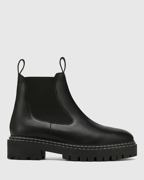Madi Black Leather Combat Boot & Wittner & Wittner Shoes