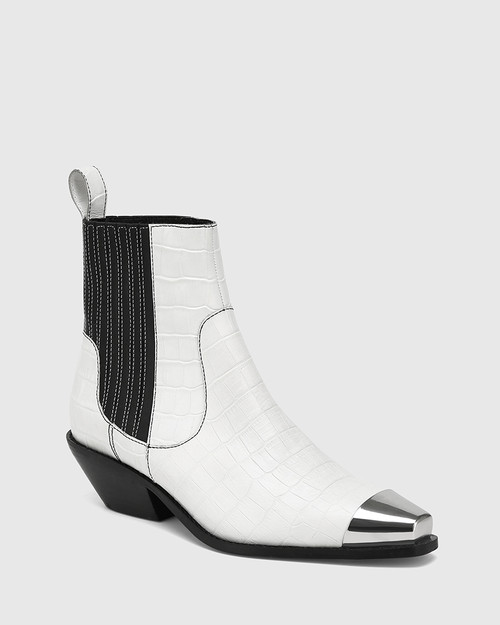 Moodie White Croc-Embossed Leather Toe Cap Ankle Boot