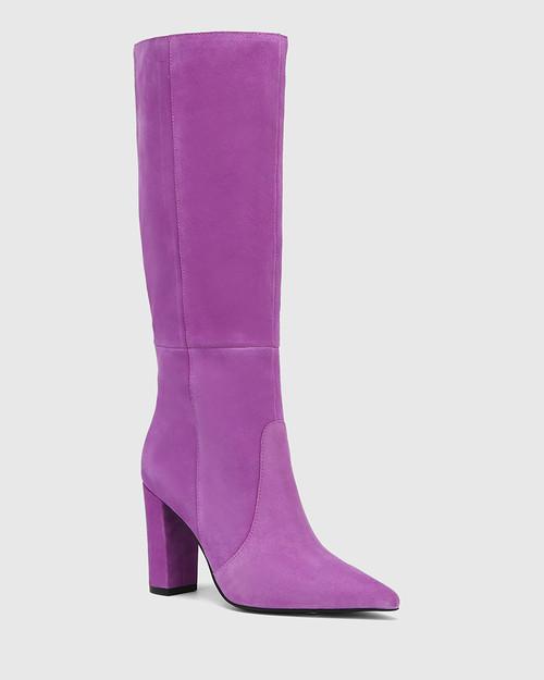 Handy Amethyst Suede Leather Block Heel Long Boot