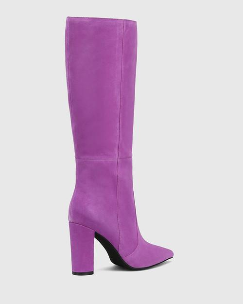 Handy Amethyst Suede Leather Block Heel Long Boot & Wittner & Wittner Shoes