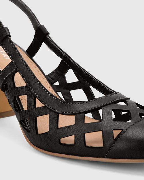 Gildan Black Leather Laser Cut Sling Back Pump. & Wittner & Wittner Shoes