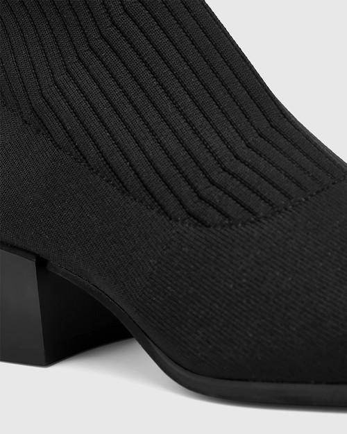 Orion Black Recycled Knit Long Boot & Wittner & Wittner Shoes