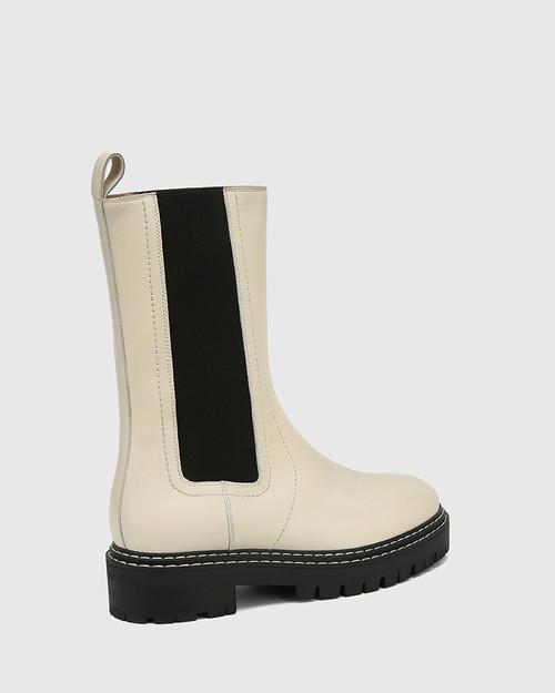 Mackay Eggshell White Leather Pull-on Combat Boot  & Wittner & Wittner Shoes