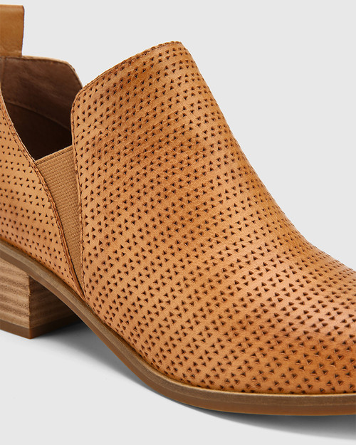 Ita Perforated Cognac Leather Block Heel Gusset Ankle Boot. & Wittner & Wittner Shoes
