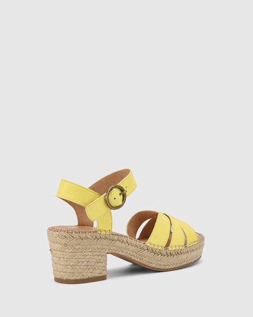 Maldives Sunshine Yellow Leather Open Toe Espadrille Sandal. & Wittner & Wittner Shoes