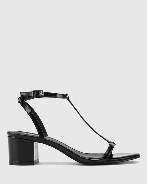 Inara Black Patent Leather Open Toe Block Heel Sandal. & Wittner & Wittner Shoes