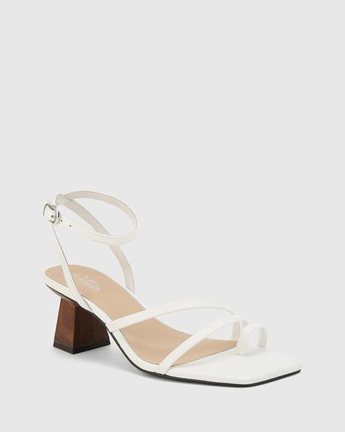 Kaiya White Leather Strappy Sculptured Heel Sandal.