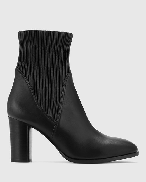 Tibby Black Leather Block Heel Ankle Boot.