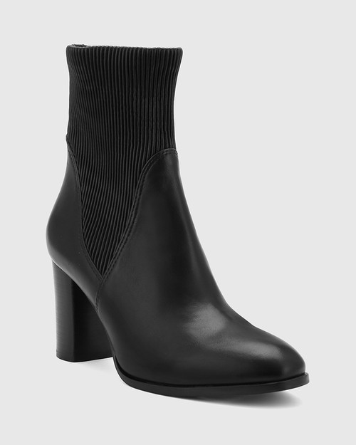 Tibby Black Leather Block Heel Ankle Boot