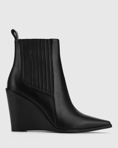 Hadriana Black Leather Wedge Heel Ankle Boot. & Wittner & Wittner Shoes