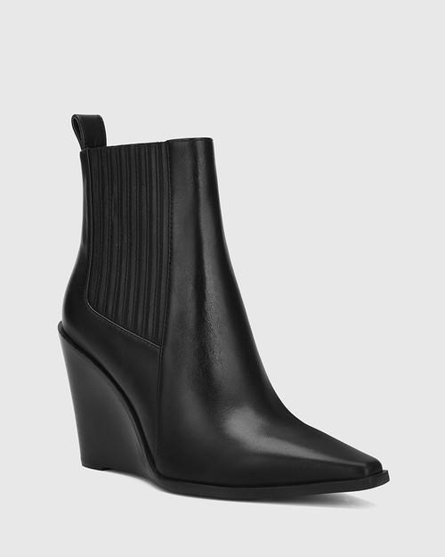 Hadriana Black Leather Wedge Heel Ankle Boot.