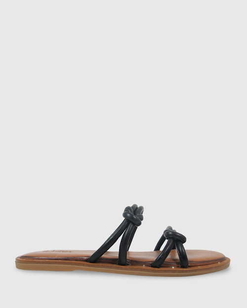 Kendrick Black Leather Flat Slide.