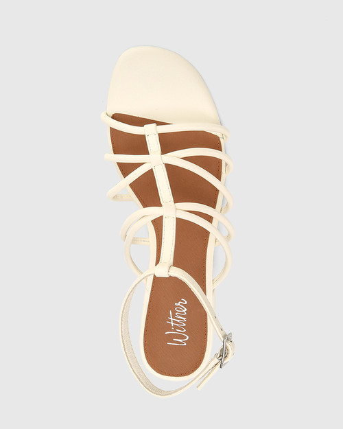 Beckie Buttercream Leather Open Toe Block Heel Flat Sandal. & Wittner & Wittner Shoes