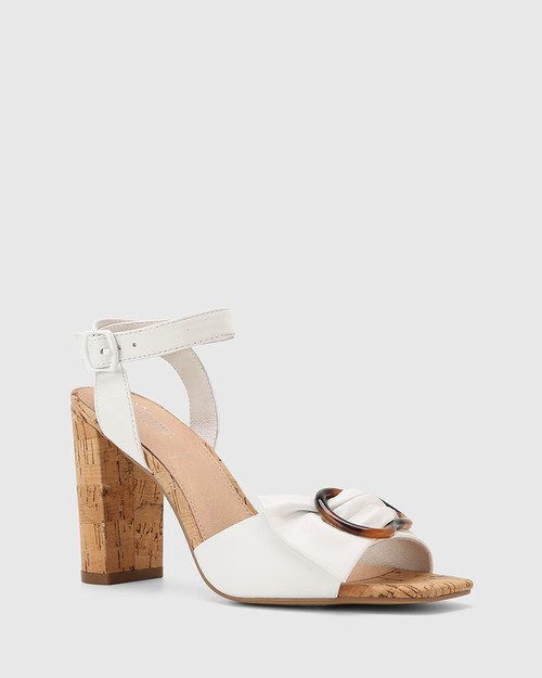 Reena White Nappa Leather Block Heel Sandal