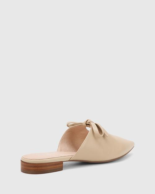 Magdalena Ecru Leather Pointed Toe Slip On Flat. & Wittner & Wittner Shoes