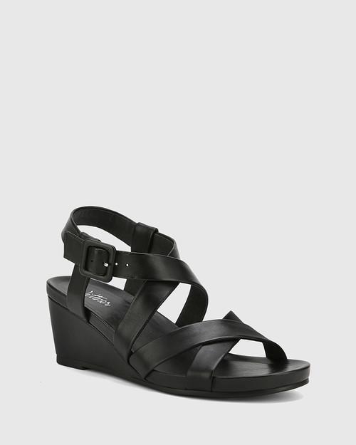 Madora Black Leather Open Toe Wedge Heel.