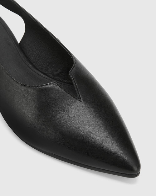Alvin Black Leather Pointed Toe Slingback Flat. & Wittner & Wittner Shoes