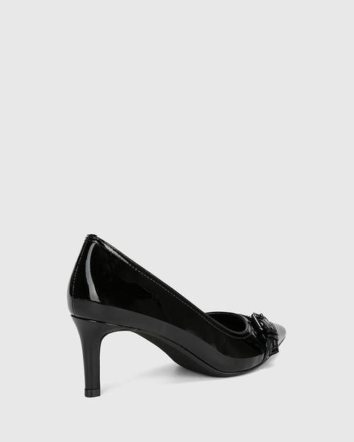 Downton Black Patent Leather Buckle Stiletto Heel. & Wittner & Wittner Shoes