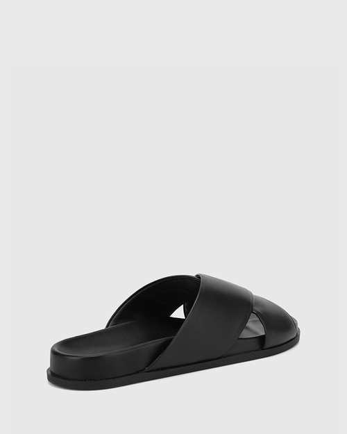 Brooks Black Leather Crossed Straps Slide. & Wittner & Wittner Shoes