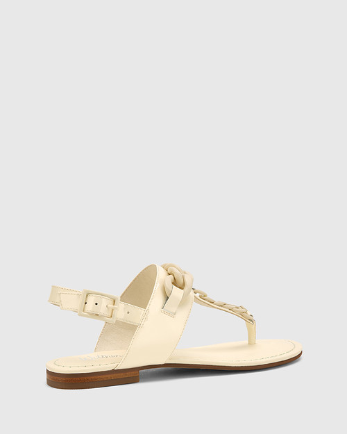 Cavannah Buttercream Patent Leather With Trim Slide. & Wittner & Wittner Shoes