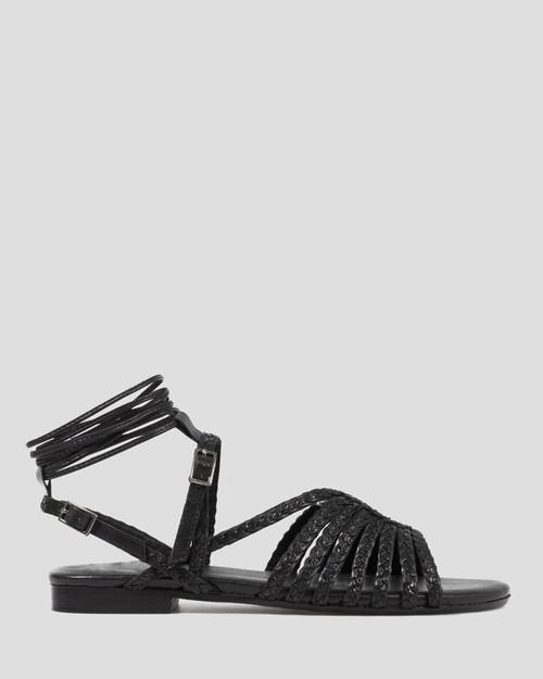 Parella Black Leather Braided Flat Sandal.