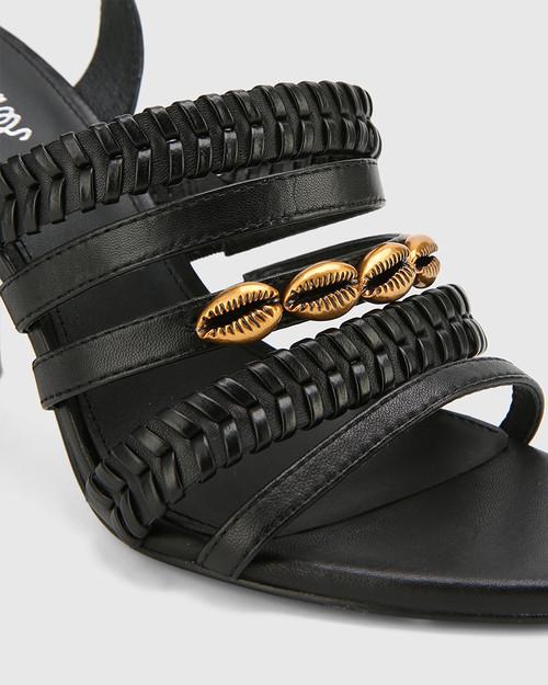 Rochella Black Nappa Leather Block Heel Sandal. & Wittner & Wittner Shoes