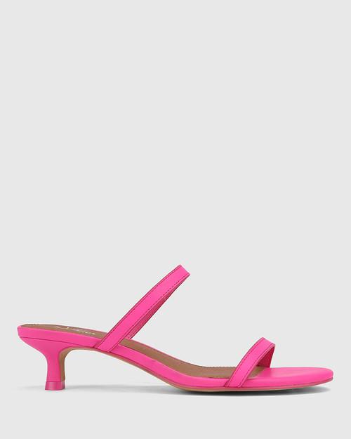 Jay Hot Fuchsia Leather Low Stiletto Sandal. & Wittner & Wittner Shoes