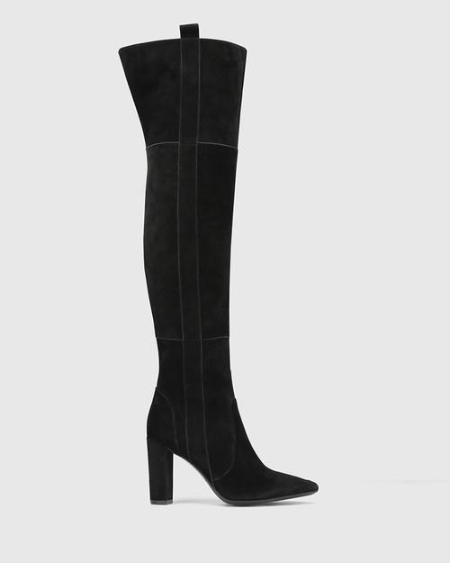 Hansina Black Suede Leather Over The Knee Boot & Wittner & Wittner Shoes