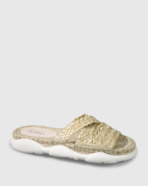Eviana Natural Weave Open Toe Slide.